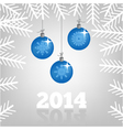 background with Christmas balls and spruce branche vector image