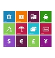 Banking icons on color background vector image