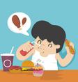 Fat man eating vector image