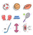 flat line art icon set sport icons kit vector image