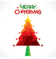 merry christmas tree greeting design vector image