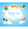 Multicolored balloons in the clouds vector image