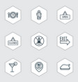 set of 9 cafe icons includes closed placard vector image