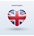 Love United Kingdom symbol Heart flag icon vector image