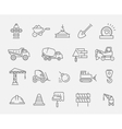 Construction and industrial machinery icon set vector image