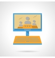 Distance education flat color icon vector image