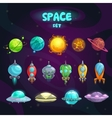 Space cartoon icons set vector image