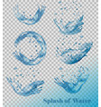 splash of water on transparent background set vector image
