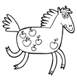 hand-drawn with horse in a village vector image