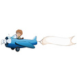 Boy flying plane with white banner vector image vector image