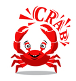 Funny red crab cartoon with text for food flavor vector image