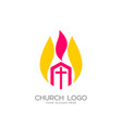 The church of christ and the flame vector image
