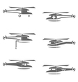 Helicopters icons set vector image