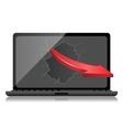 Broken Black Laptop with red arrow vector image