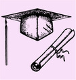 Graduation Cap Degree diploma vector image