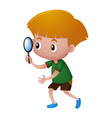 little boy looking through magnifying glass vector image