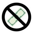 no cash money icon vector image