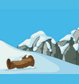 scene with snow on the mountain vector image