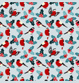 seamless christmas pattern with leaves berries vector image