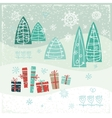 Vintage Christmas card with gifts trees and vector image