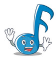 waving music note character cartoon vector image