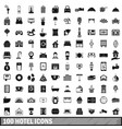 100 hotel icons set simple style vector image