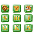 Animals and letters on green buttons vector image