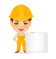 builder woman funny female worker with big head vector image