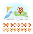 Map with markers and GPS icons vector image vector image