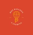 creative air ballon logo with pot and soup ladle vector image