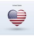Love United States symbol Heart flag icon vector image