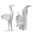 Origami squirrel stork vector image