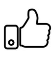 thumbs up hand line icon vector image