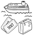 doodle travel cruise ship vector image