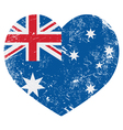 Australia retro heart flag vector image vector image