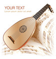 Late Baroque era lute with musical notes vector image