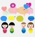Cute kids with speech bubbles vector image