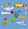 set of different types of air transport airplanes vector image