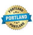 Portland round golden badge with blue ribbon vector image