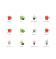 Hot Coffee Cup color icons on white background vector image