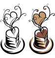 Heart shaped cup of coffee simple stencil vector image vector image