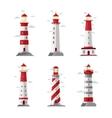 Cartoon lighthouse icons beacon or pharos vector image