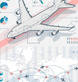 infographic set elements with airplane in various vector image