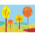 Funny fall landscape with flowers and trees vector image