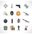 Terrorism Icons Set vector image