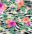 tropical flowers on zebra background vector image
