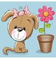 Dog with flower vector image