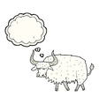 cartoon annoyed hairy ox with thought bubble vector image