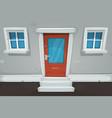 cartoon house door and windows in the street vector image