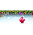 christmas background with branches and balls with vector image